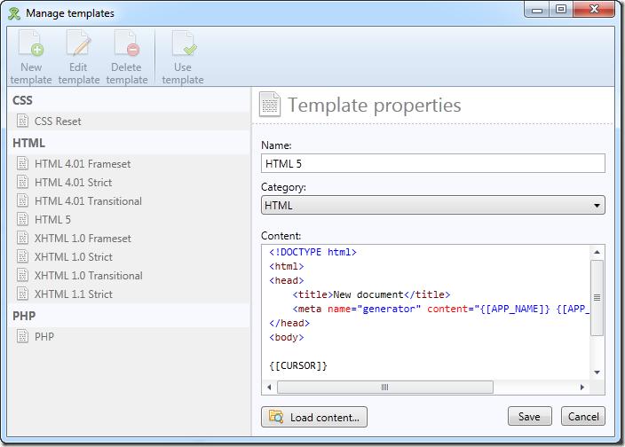 Templates dialog in WebCoder 2012 - edit mode