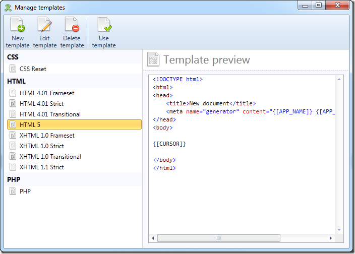 Templates dialog in WebCoder 2012 - overview mode