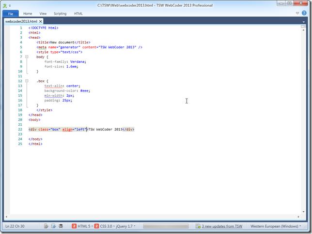 WebCoder 2013 in fullscreen mode