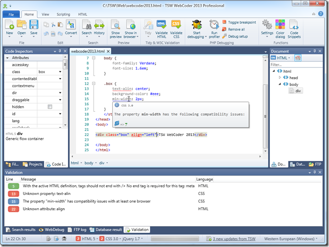 WebCoder 2013 main interface