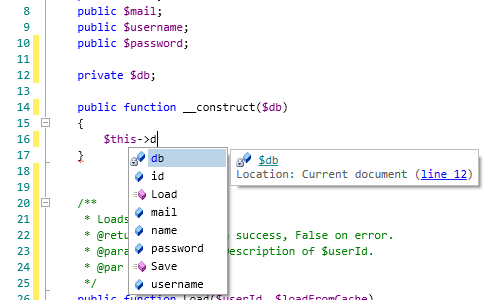 PHP IntelliSense