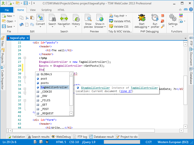 WebCoder 2013 showing IntelliSense