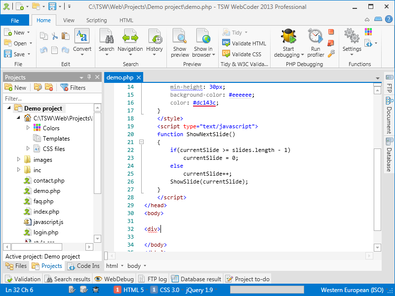 WebCoder 2013 with the Metro Light theme